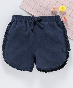 Babyhug Solid Shorts With Pom Pom Lace - Navy Blue