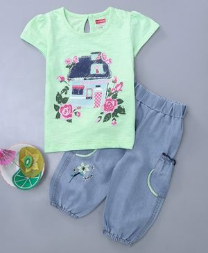 Babyhug Half Sleeves Tee And Pull On Jeans House Print - Green Blue
