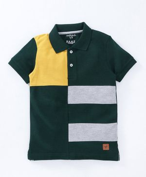 Stupid Cupid Colorblock Half Sleeves Polo Tee - Green Grey & Yellow