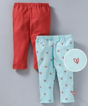 Nino Bambino Ankle Length Solid & Heart Printed Leggings Pack Of Two - Blue & Red