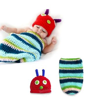 Bembika Knitted Baby Costume Photography Prop Set Caterpillar Design - Green & Red