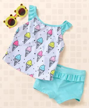 Fox Baby Sleeveless Two Piece Swimsuit Ice Cream Print - Sky Blue