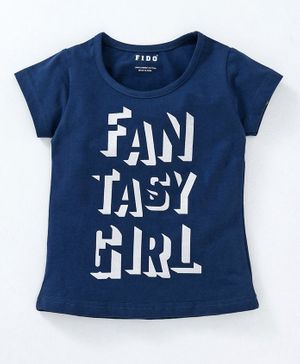 Fido Cap Sleeves Top Fantasy Girl Print - Navy