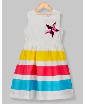 Young Birds Star Patch Sleeveless Dress - Off White