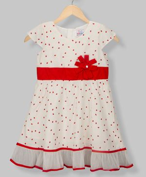 Young Birds Short Sleeves Strawberry Print Dress - Beige
