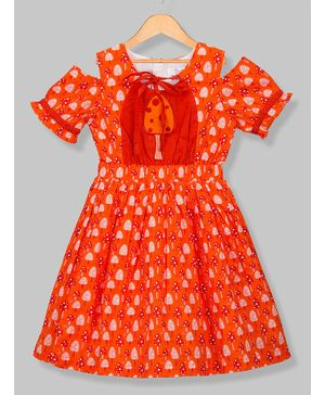 Young Birds Half Sleeves Popsicle Print Dress - Orange