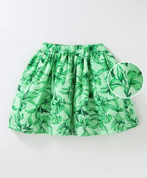 Pikaboo Leaves Print Short Skirt - Green