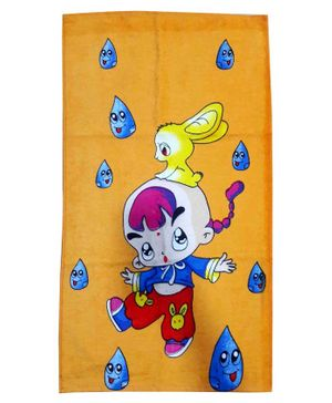 Sassoon Cotton Bath Towel Cartoon Print - Dark Yellow