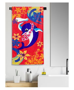 Sassoon Bath Towel Dolphin Print - Green