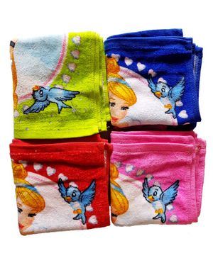Sassoon Disney Princess Printed Cotton Face Towel Set of 12 - Multicolor