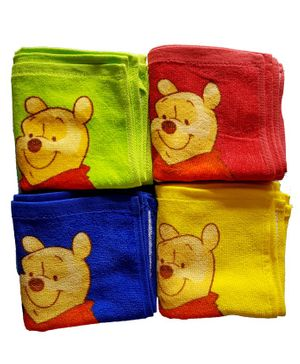 Sassoon Winnie The Pooh Printed Cotton Face Towel Set of 12 - Multicolor