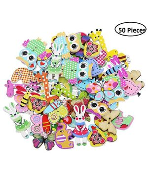 Syga Wooden Sewing Buttons Multicolor - 50 Pieces