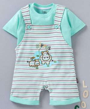 NOQ NOQ Half Sleeves Tee With Dungaree Style Striped Romper - Sea Green