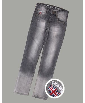 Pepe Jeans Full Length Washed Solid Jeans - Grey