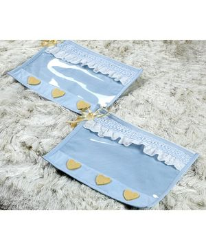 My Gift Booth Utility Pouch Heart Applique Pack of 2  - Blue