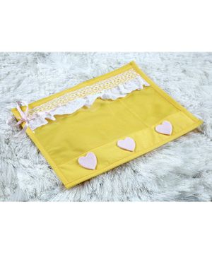 My Gift Booth Utility Pouch Heart Applique Pack of 2  - Yellow