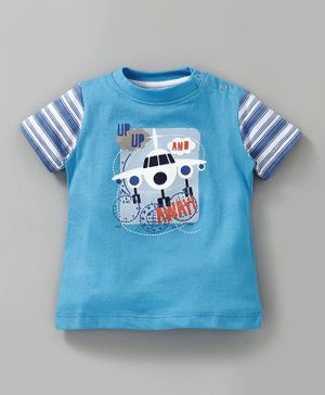 JusCubs Airplane Print Half Sleeves - Blue