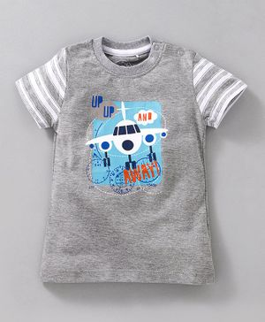 JusCubs Airplane Print Half Sleeves - Grey