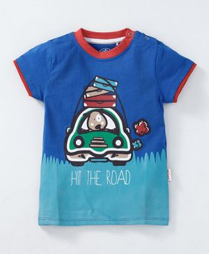 JusCubs Car Print Half Sleeves Tee - Blue