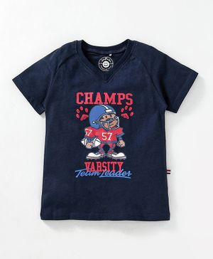 JusCubs Champ Print Half Sleeves - Navy Blue