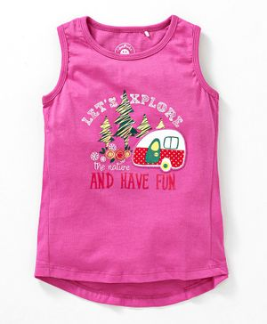 JusCubs Lets Explore The Nature Print Sleeveless Top - Pink
