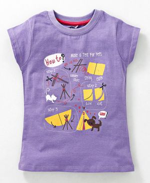 JusCubs Cat & Dog Print Short Sleeves Top - Purple