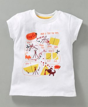 JusCubs Cat & Dog Print Short Sleeves Top - White