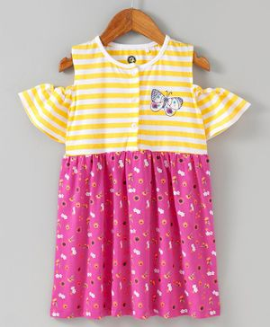 JusCubs Striped & Flower Print Half Sleeves Dress Top - Yellow & Pink