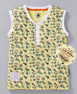 JusCubs Leaves Print Sleeveless Tee - Yellow
