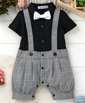 Mark & Mia Half Sleeves Party Wear Romper With Bow - Black & Grey