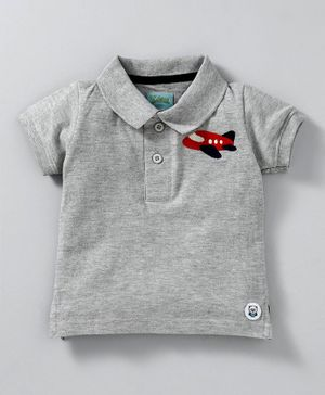 Solittle Aeroplane Embroidered Polo Half Sleeves Tee - Grey