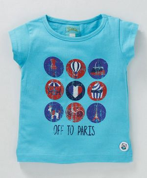 Solittle Off To Paris Printed Short Sleeves Tee - Sky Blue