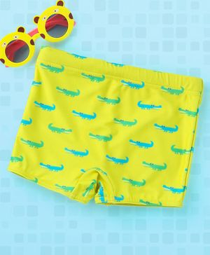 Babyhug Swimming Trunks Croc Print - Yellow