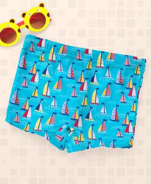 Babyhug Swimming Trunks Boat Print - Blue