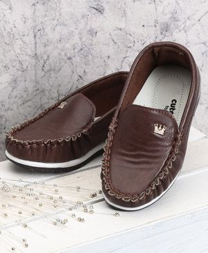 Cute walk by Babyhug Party Wear Loafers - Brown