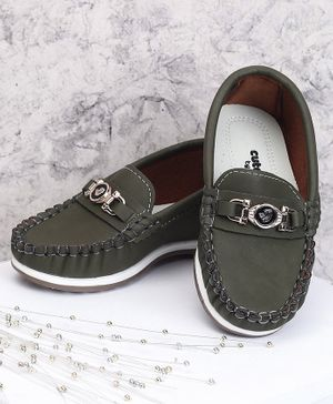 Cute Walk by Babyhug Party Wear Loafer Shoes - Olive Green