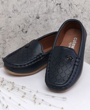 Cute Walk by Babyhug Party Wear Loafer Shoes - Navy Blue
