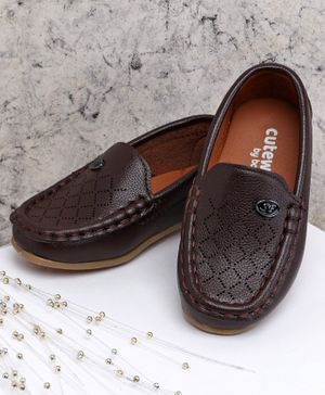 Cute Walk by Babyhug Party Wear Loafer Shoes - Brown