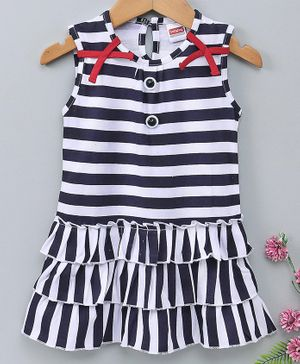 Babyhug Sleeveless Layered Striped Frock - Navy Blue