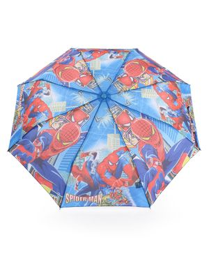 John's Umbrellas With Whistle Spiderman Print - Blue