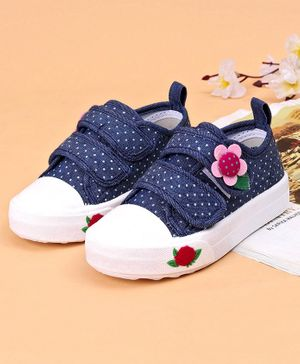 Cute Walk by Babyhug Polka Dotted Casual Shoes With Floral Motif - Blue