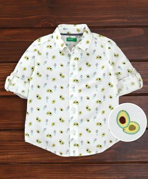 UCB Full Sleeves Shirt Avocado Print - White