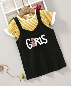 Meng Wa Dungaree Frock With Striped Tee - Yellow & Black