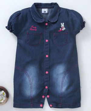 U R Cute Bunny Embroidered Short Sleeves Romper - Blue & Pink