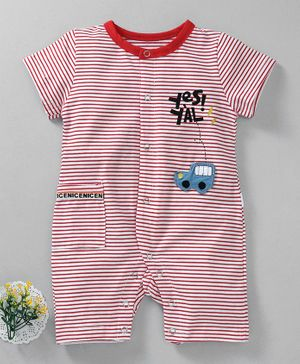 Meng Wa Half Sleeves Striped Romper Car Patch - Red