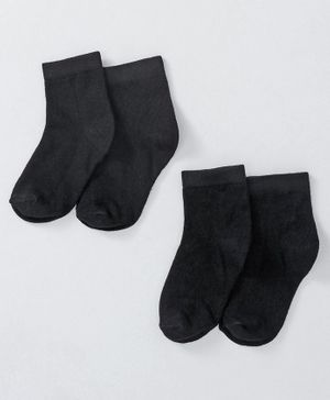 Cute Walk by Babyhug Anti Bacterial Ankle Length Non Terry Socks Pack of 2 - Black