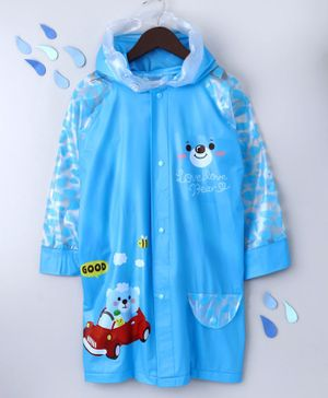 Full Sleeves Hooded Raincoat Teddy Print - Blue