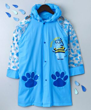 Full Sleeves Hooded Raincoat Hippo Print - Blue