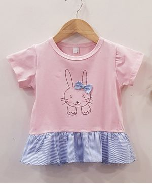 Aww Hunnie Bunny Printed & Striped Cap Sleeves Top - Pink & Blue