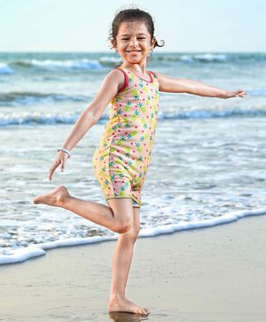 Babyhug Sleeveless Legged Swim Suit Pineapple Print - Peach